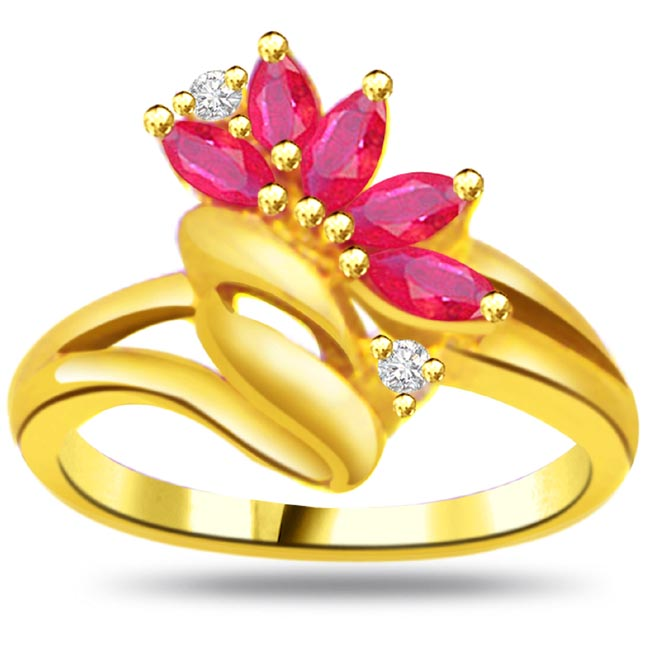 Flower Shape Diamond & Ruby rings SDR965