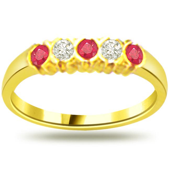 0.08ct Diamond & Ruby rings SDR970