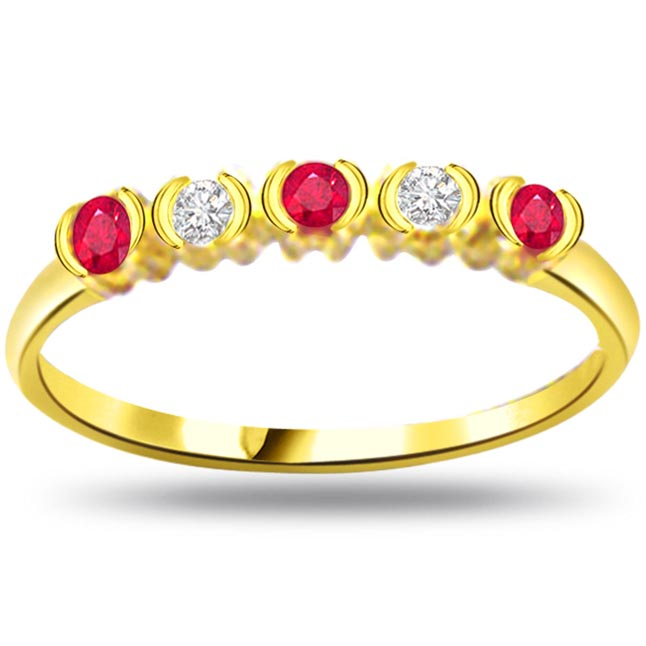 Diamond & Ruby Gold rings SDR971