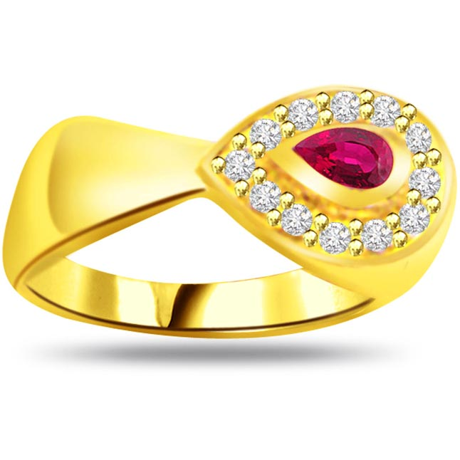 Classic Diamond & Pear Ruby rings SDR981