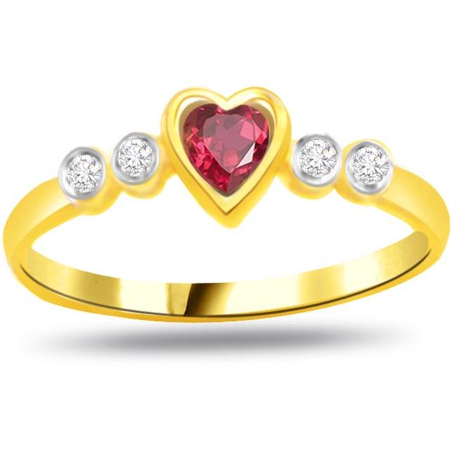 Diamond & Ruby Heart rings