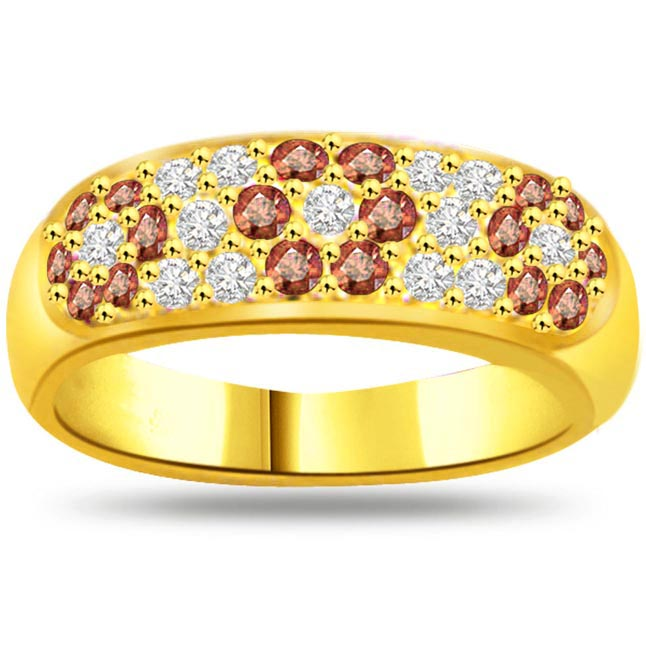 Flower Shape Diamond & Ruby rings SDR986