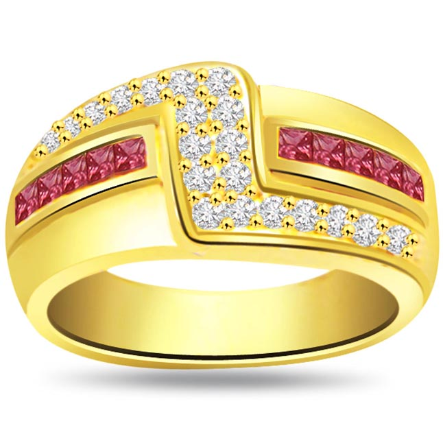 Trendy Diamond & Ruby rings SDR988
