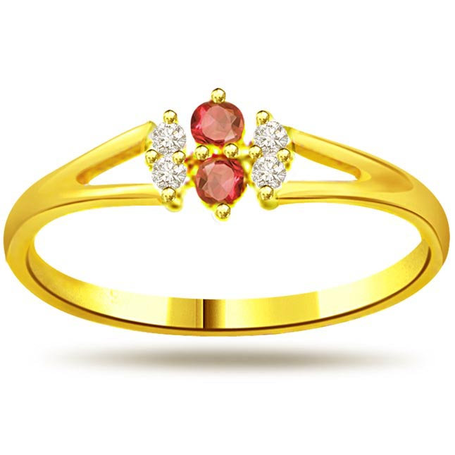 0.12ct Diamond & Ruby rings SDR995
