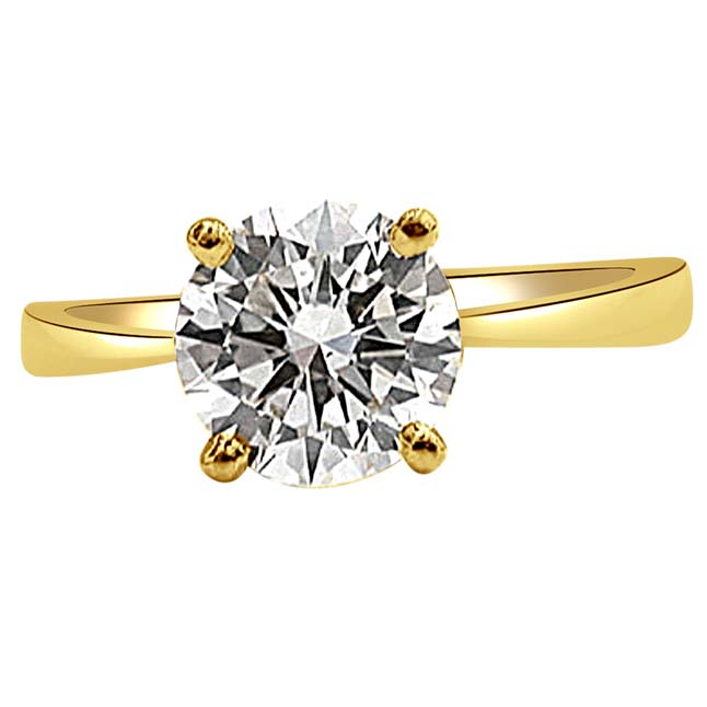 0.16 cts Round Deep Greenish Yellow/I2 Solitaire Diamond Engagement Ring in 18kt Yellow Gold