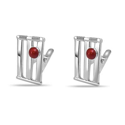 Cricket Stumps Ball Cufflink in Silver -Silver Sports Cufflinks