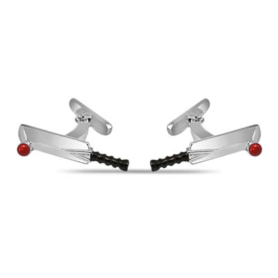 Cricket Bat Ball Cufflinks in Silver -Silver Sports Cufflinks