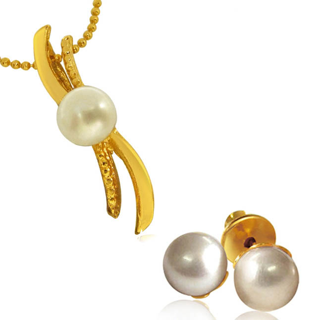'S' Shape Button Pearl Pendant with chain & Pearl Studs for Women (SDS147)
