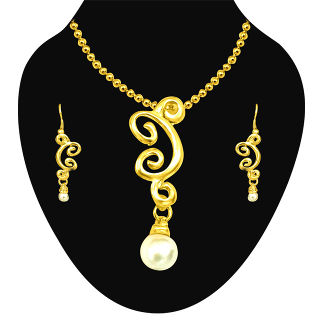Trendy Shell Pearl & Gold Plated Pendants & Earrings Set with Chain -Pearl Set