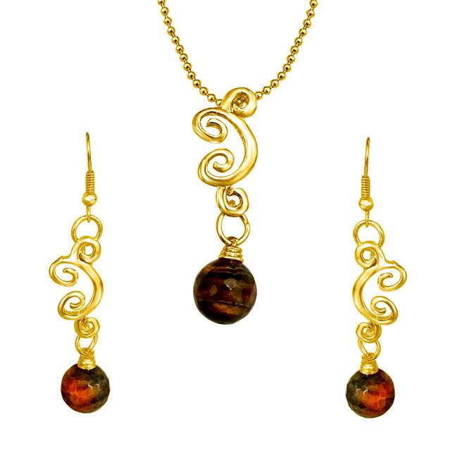 Trendy Tiger Eye Ball & Gold Plated Pendants & Earrings Set.