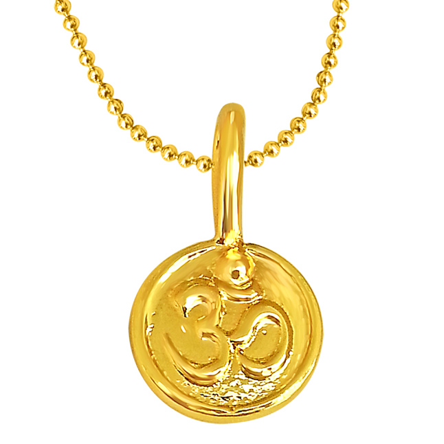 OM Shaped Gold Plated Sterling Silver Pendant with Gold Plated Chain for All (SDS190)