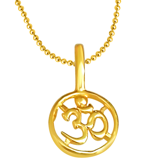 "OM Shaped Gold Plated Pendants in Sterling Silver with Gold Plated 22"" Chain -Religious"