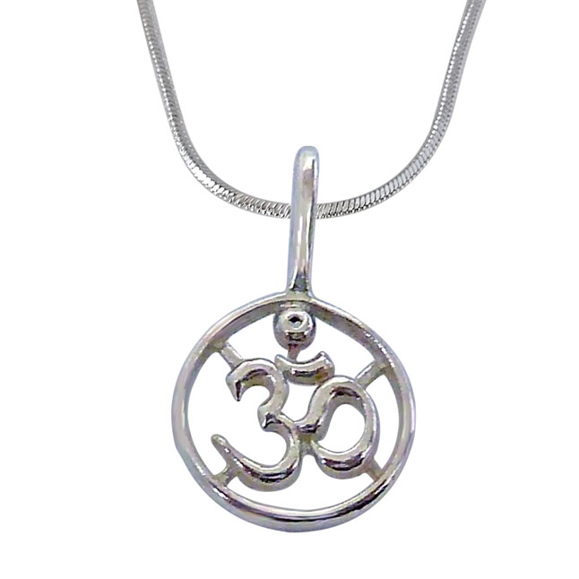 Delicate Religious OM Pendants in Sterling Silver with Chain for Children -Religious