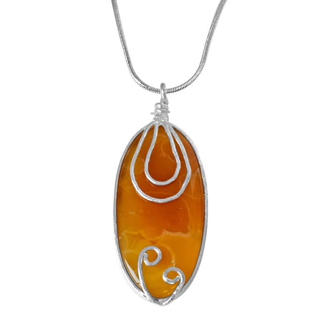 "Trendy Yellowish Brown Shaded Oval Agate & Silver Plated Pendants with 18"" chain -Agate Pendants + Chain"