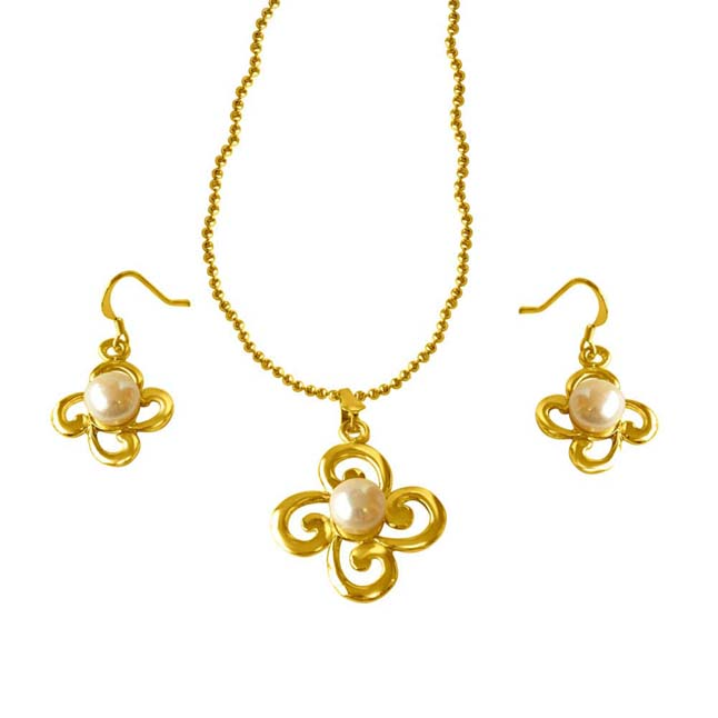 Trendy Real Big Button Pearl & Gold Plated Pendants & Earrings Set with chain -Pearl Set