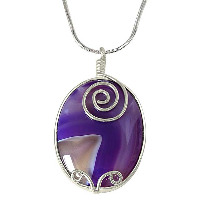 "Oval Shaped Purple -Grey Shaded Agate & Silver Plated Pendants with 18"" Chain -Agate Pendants + Chain"