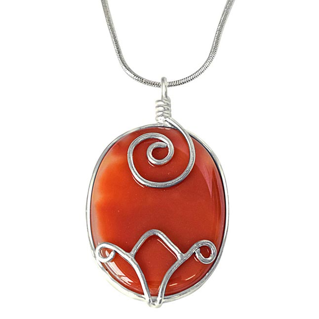 "Oval Shaped Orange Shaded Agate & Silver Plated Pendants with 18"" Chain -Agate Pendants + Chain"