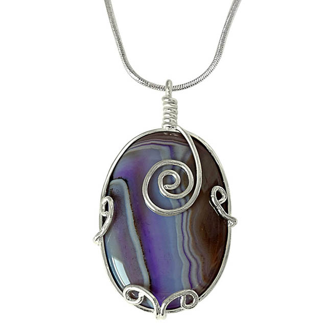 "Oval Shape Purple -Grey Shaded Agate & Silver Plated Pendants with 18"" Chain -Agate Pendants + Chain"
