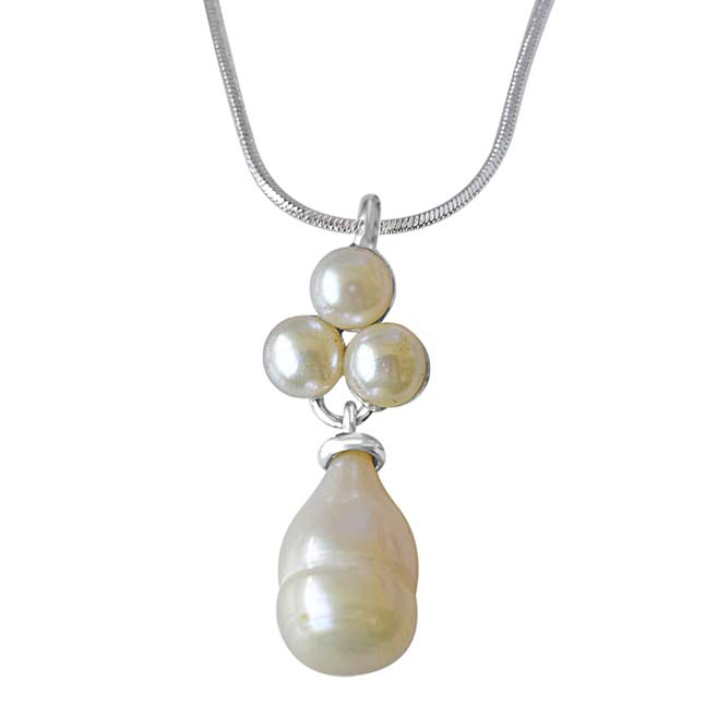 Pearl Garden Sterling Silver Drop Pearl with Pearl Flower Pendant with 18 IN Chain (SDS233)