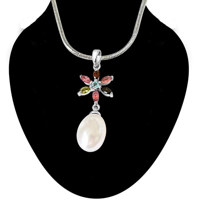 Flower Shaped Real Pearl & Gemstone Pendant with Silver Finished 18 IN Chain (SDS237)