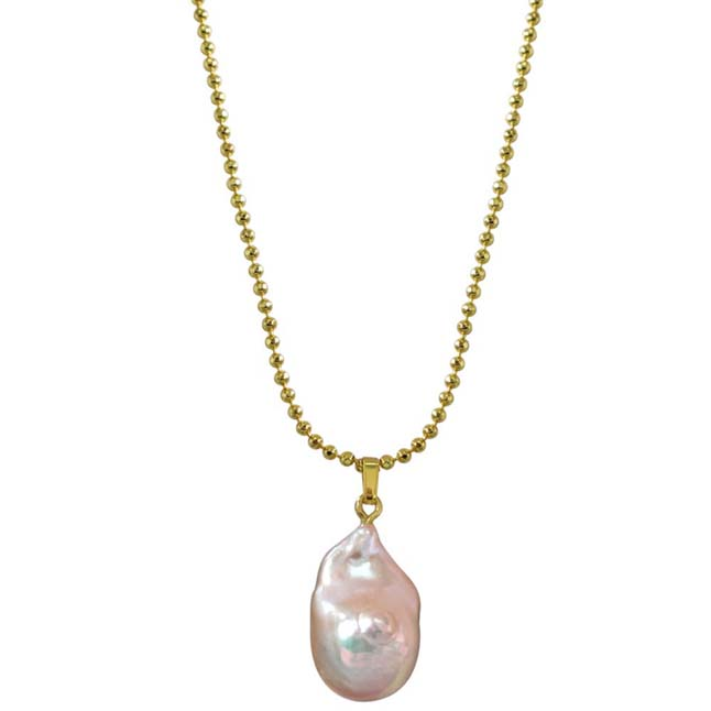Real Natural Pinkish - Purple Baroque Pearl Pendant with Gold Plated Chain for Women (SDS238-16.22cts)