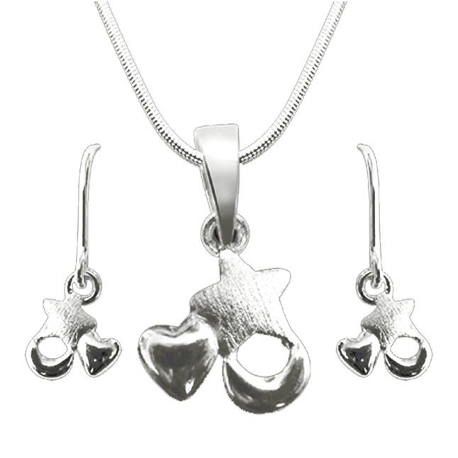 Star, Heart & Moon Shape Hanging Pendant & Earring Set with Silver Finished Chain for Girls (SDS29+SDS34)