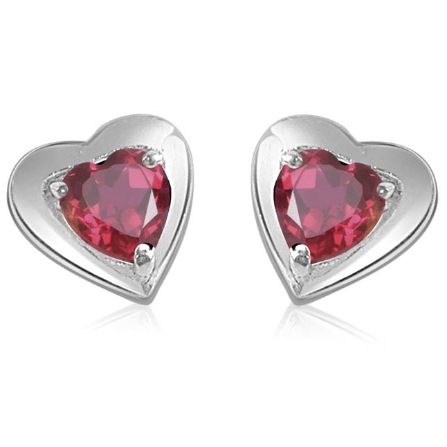 Hearty Present -Fine Garnet Earrings in Silver -Gemstone Earrings