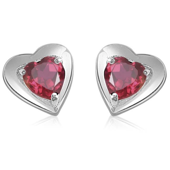 Hearty Present -Fine Garnet Earrings in Silver -Gemstone Earrings