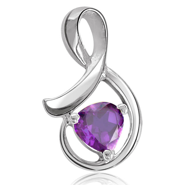 S' Shape Silver Amethyst Pendants -Gemstone Pendants