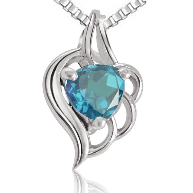 Fine Blue Topaz Heart shape Pendants with Chains -Gemstone Pendants