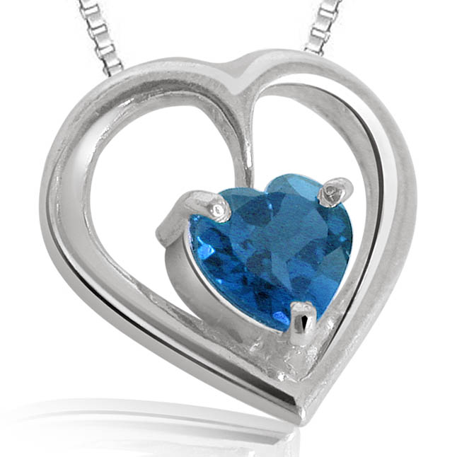 Heart Shaped Blue Topaz Pendants with chain -Gemstone Pendants