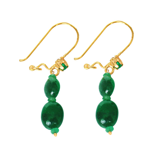 Magical Feelings - Real Oval Emerald & Green Malachite Bead Hanging Earrings for Women (SE100)