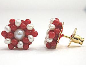 Pearl & Red Coral Earrings -Kudajodi