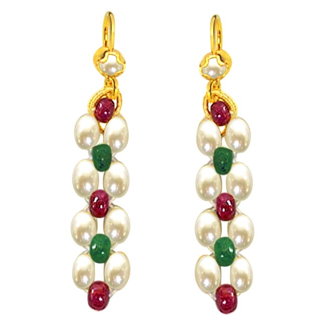 Ruby & Emerald Beads & Rice Pearl Earrings
