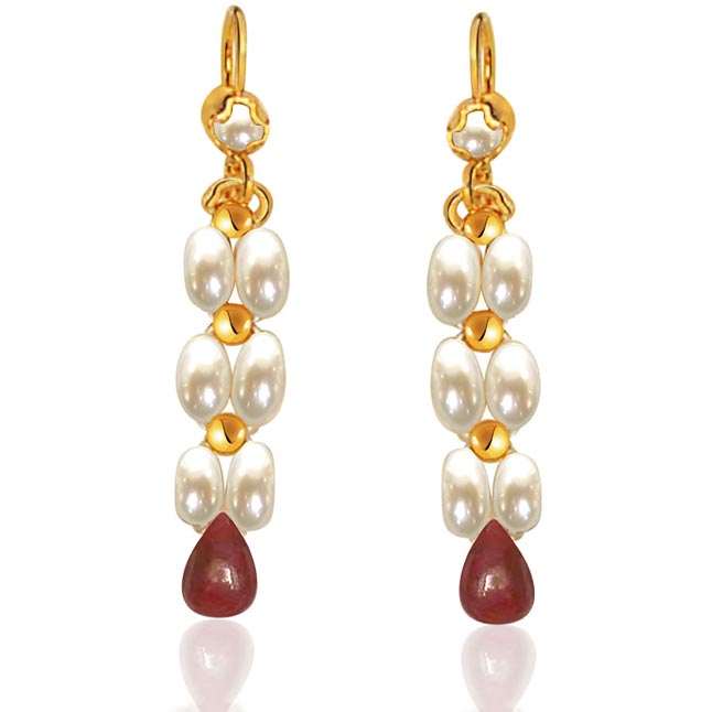 Drop Ruby & Rice Pearl Earrings. -Pres.Stone Hanging Earrings