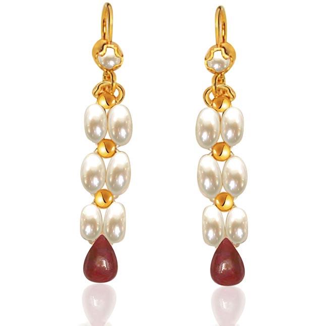 Drop Ruby & Rice Pearl Earrings. -Pres.Stone Hanging Earrings