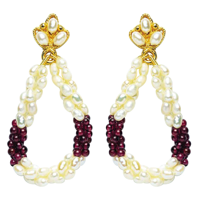 Ecstatic Elegance - Real Rice Pearl & Red Garnet Beads Twisted Hanging Earrings for Women (SE13)