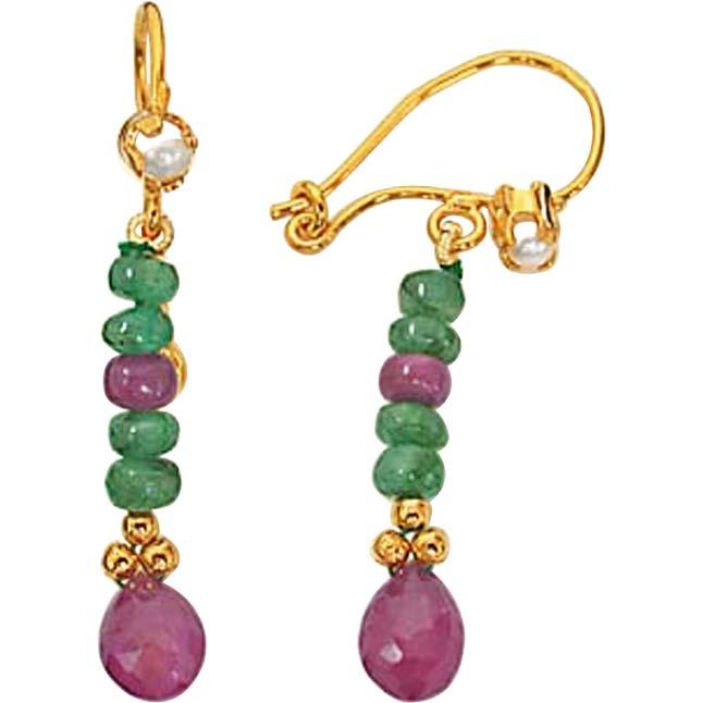 Ruby & Emerald Earrings -Pres.Stone Hanging Earrings