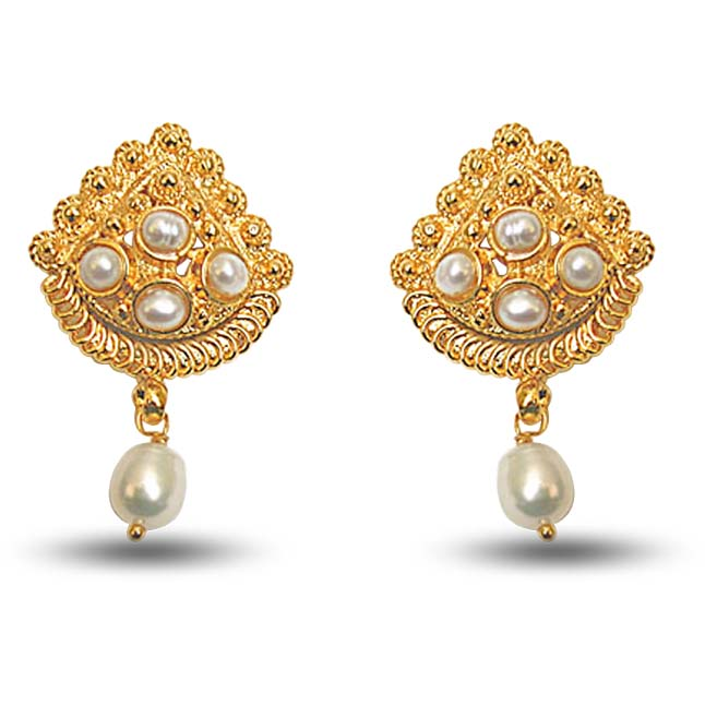 24kt Gold Plated Earrings with Freshwater Pearl