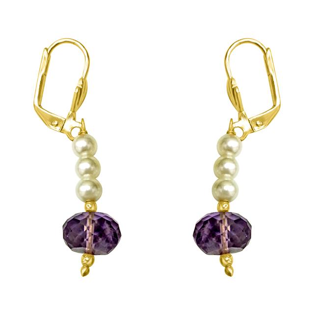Fancy Purple Amethyst & Shell Pearl Hanging Earrings.
