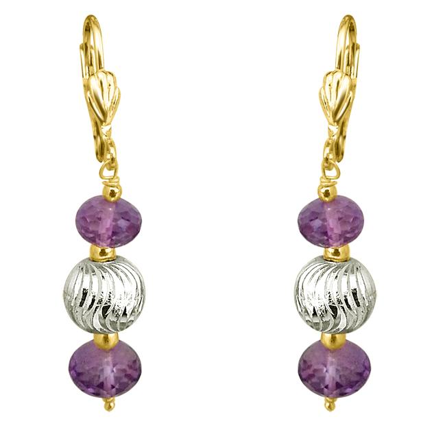 Purple Amethyst & Silver Plated Ball Earrings