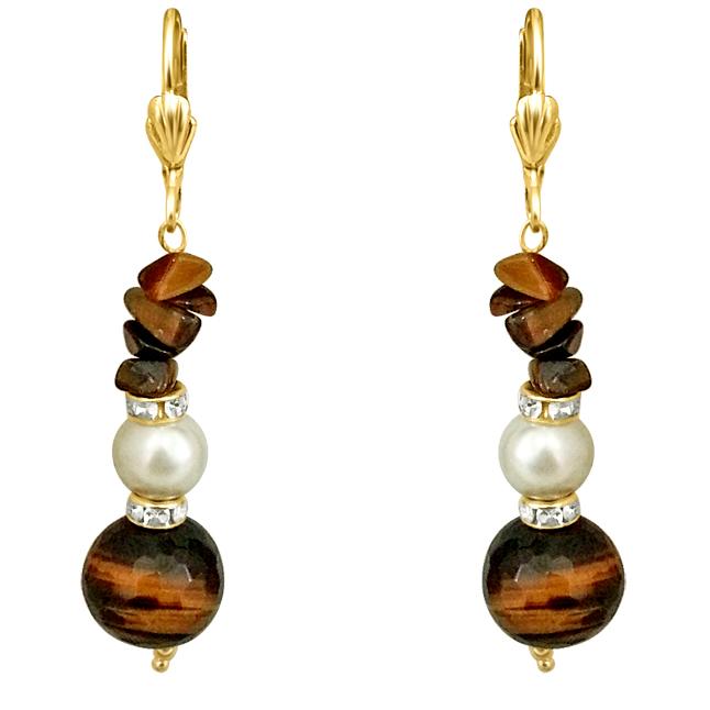 One of it's Kind -Tiger Eye & Shell Pearl Earrings.