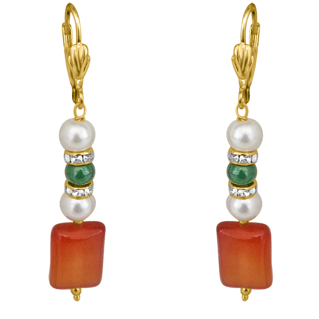 Just For You -Red Onyx, Shell Pearl & Green Coloured Stone Earrings.