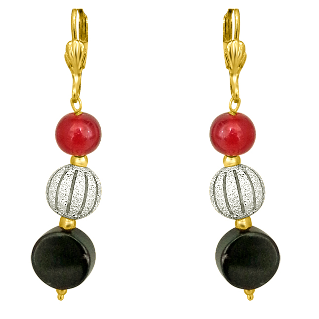 Fancy Black Onyx, Silver Plated Ball & Red Beads Earrings.