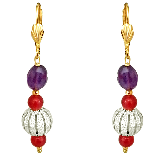 Oval Purple Amethyst, Silver Plated Ball & Red Beads Earrings.