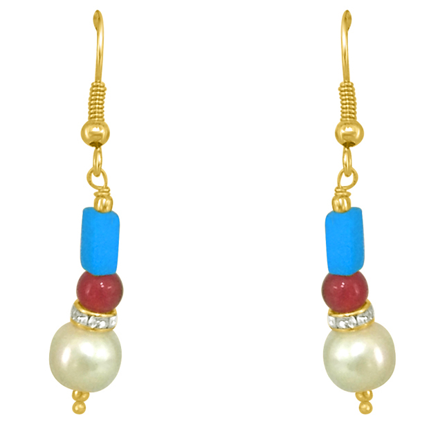 Turquoise & Coloured Stone Earrings.