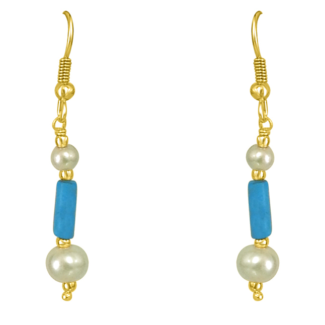 Turquoise Pipe & Shell Pearl Hanging Earrings