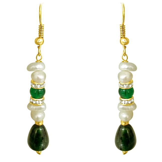 Real Freshwater Pearl & Drop Green Stone Hanging Earrings.