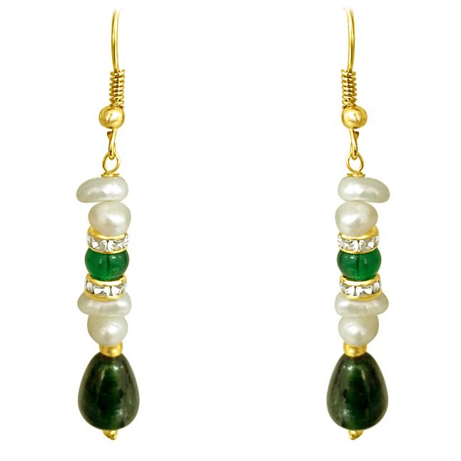 Real Freshwater Pearl & Drop Green Stone Hanging Earrings.