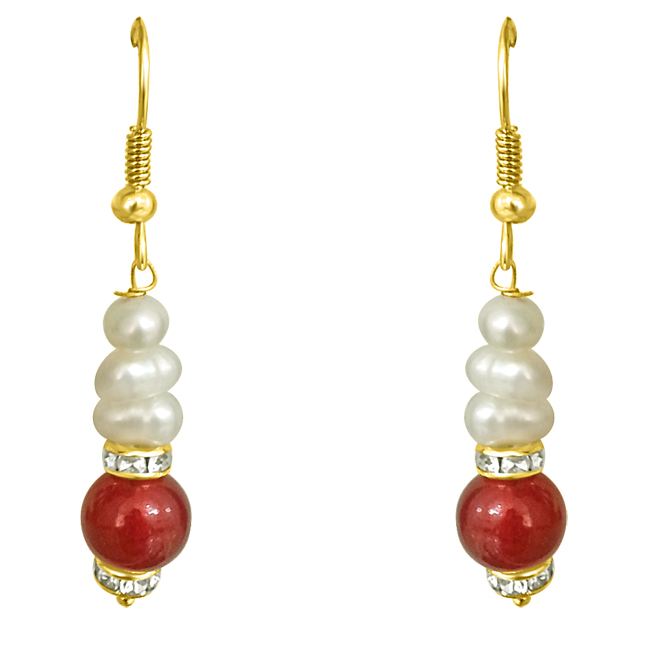 Real Freshwater Pearl & Red Stone Hanging Earrings.